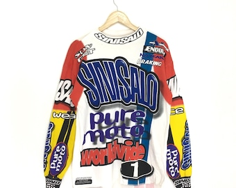 Vintage 90s SINISALO Motocross Jersey   Bmx   mx Fullprint Medium Size on  tag 9e81b341a1ae