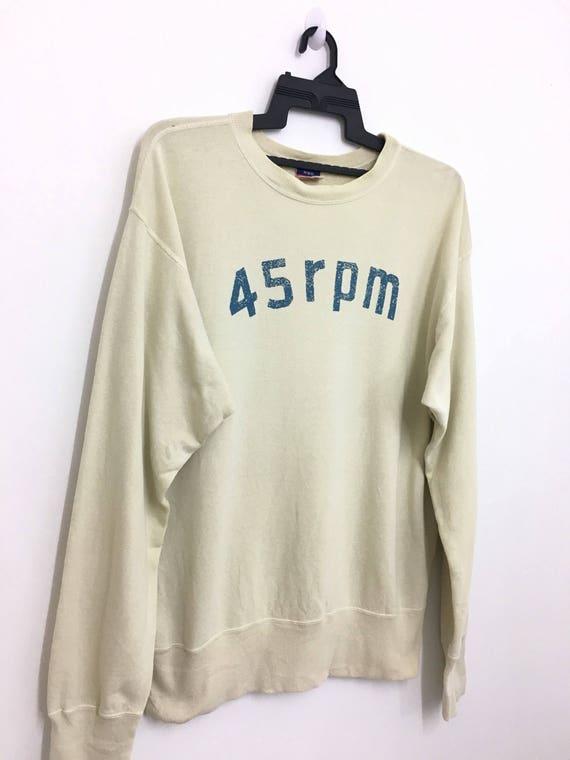 Vintage 45RPM Japan Knit Blue Sweatshirt Jumper Pullover Japanese Denim 45 RPM