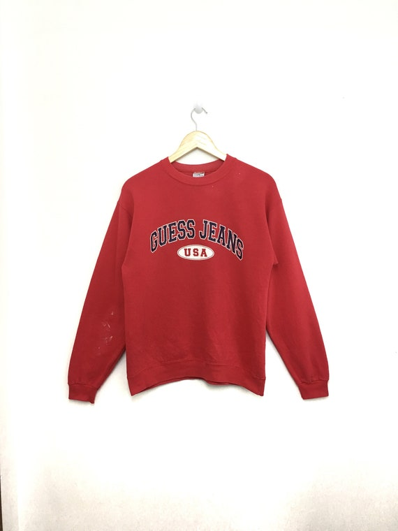 best cheap footwear hot-selling official Vintage Rare GUESS USA Sweatshirt Spellout Pullover Red Color Made In Usa