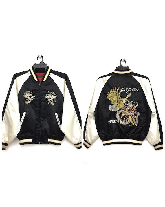 Dragon Yokosuka Sukajan Vintage Veste Souvenir Japon Broderie Satin Aigle 8Nnwv0Om