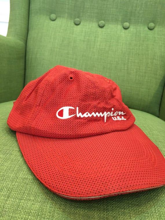 official photos a2e3c 47ad5 shop vintage champion capone size fits allchampion hat embroidery etsy  4ea0a b23ad