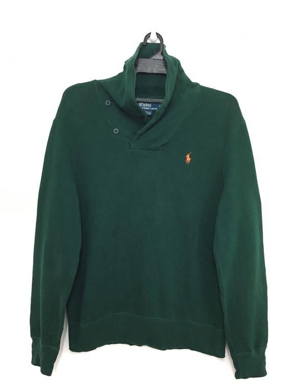 Vintage Foncé Design Ralph Rare Taille Vert Grande Polo Sweat Par Lauren Pull eWrdBCxo