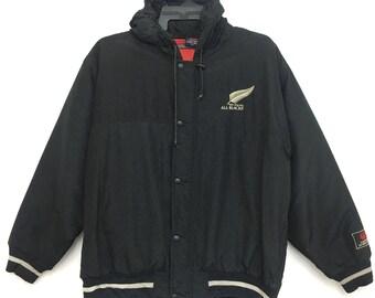 Sale!! Vintage CANTERBURY Of New Zealand Hoodie Jacket Black Color XL Size