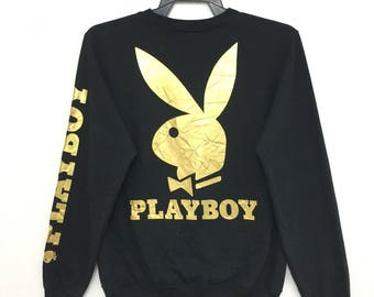 Rare!! PLAYBOY Sweatshirt Big Logo Gold Spellout Black Color Small Size on tag