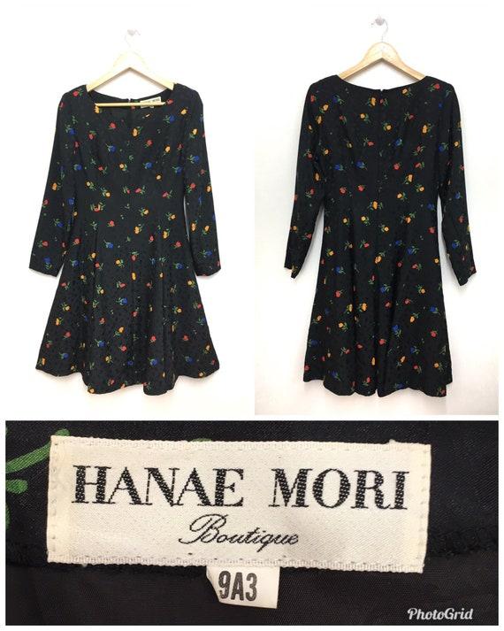 Vintage 80s 90s HANAE MORI Dress Longsleeve Floral