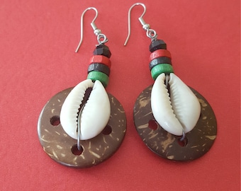 African Handmade Coconut shell/Courie shell earrings