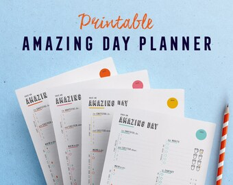 Daily Planner printable pages to plan and have an amazing day, every day! Daily agenda, Day organizer, Planner inserts
