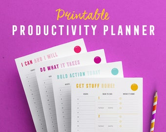 Printable Productivity Planner, Daily planner, Printable inserts, Business planner, Hourly plan and top 3 priorities