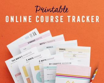 Online Course Tracker Kit printables to help you make progress on your courses and finally finish them!