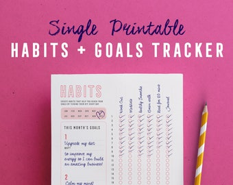 Habit Tracker, Printable, Instant download, Daily Habits, Habit Planner, Planner insert, Checklist, Goal tracker, PDF, A4, US Letter, A5