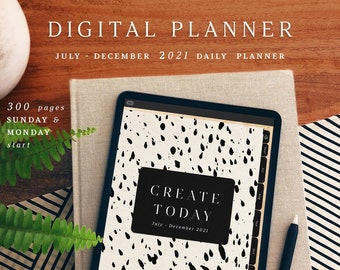 Create Today Digital Planner, July Start,  Creativity Planner, Artist Planner, iPad digital planner, Black and White