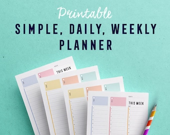 Daily Weekly printable planner on 2 pages with hourly breakdown