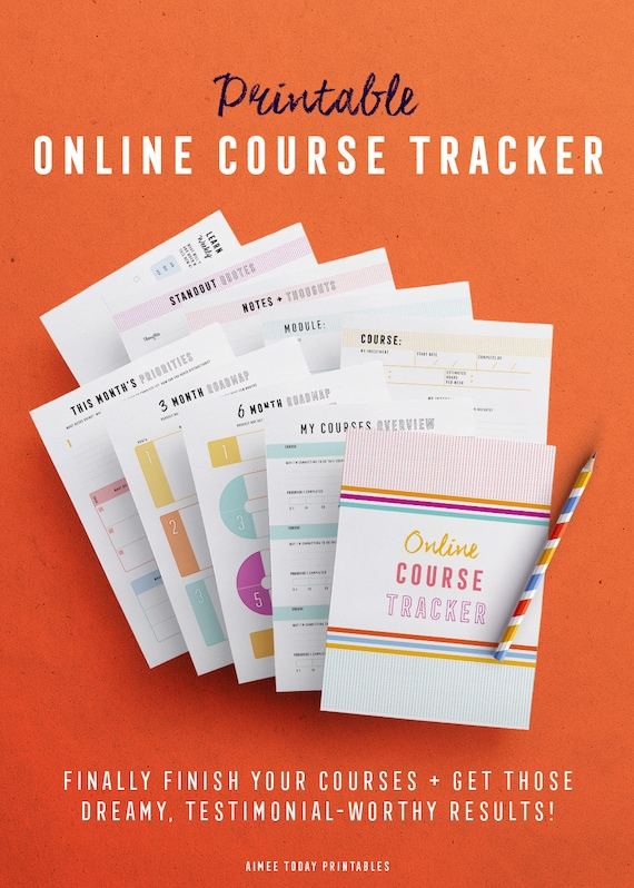 online course tracker kit printables to help you make progress etsy