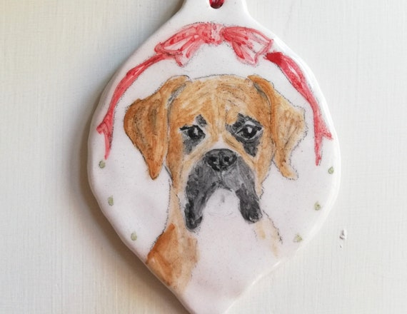 Ceramic British bulldog or boxer dog decoration Hand painted pottery hanging ornament Dog lovers gift idea one of a kind unique gift