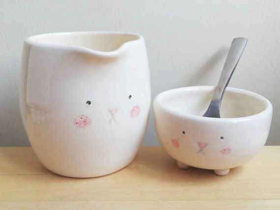 Ceramic bunny milk jug or sugar bowl with rabbit face and tail pottery creamer gift for bunny lover. Choice of 3. For serving milk cream