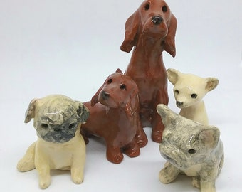 Hand made ceramic pet dog figurine - chihuahua pug french bulldog red setter dachshund - puppy lover gift pottery clay dog sculpture