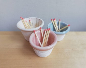 Handmade ceramic match striker in grey white or handpainted matches, pottery for striking strike anywhere matches gift idea for candle lover