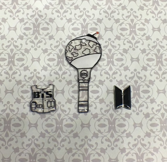 Bts Lightstick And Logo Mini Keychain Set Kpop Cell Phone Etsy
