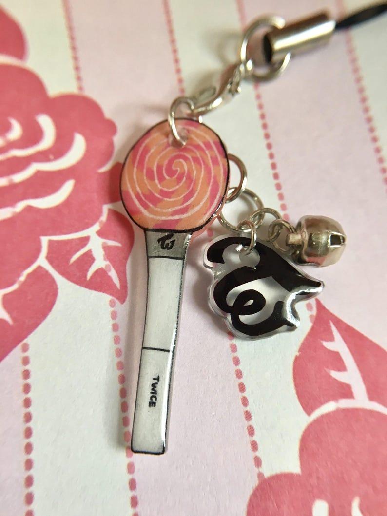 Twice LightStick and Logo Mini Keychain Set / Kpop Cell Phone Strap,  Miniature Charm, Lollipop Once Fan Merch, Accessory