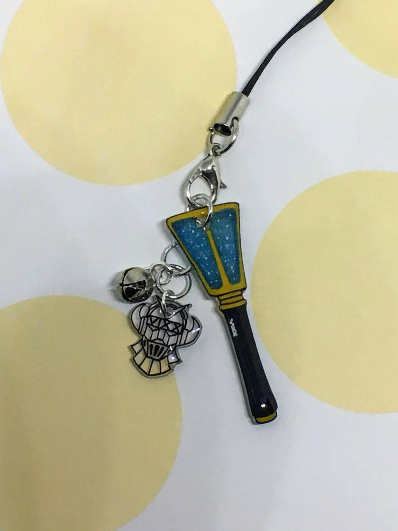 VIXX LightStick and Logo Mini Keychain Set / Kpop Cell Phone Strap,  Miniature Charm, Starlight Fan Merch, Accessory, Black, Blue, Starry