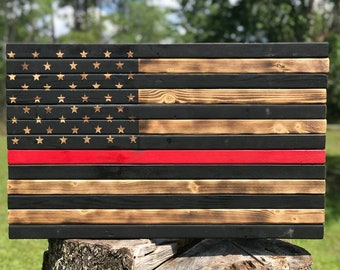 American Flag Red Lifes Matter Wood Firefighter Rustic Barn Gift