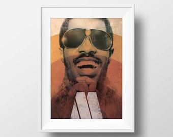 Motown Icon 'Stevie Wonder' | Graphic Art Print | Poster | Wall Art | A4 & A3