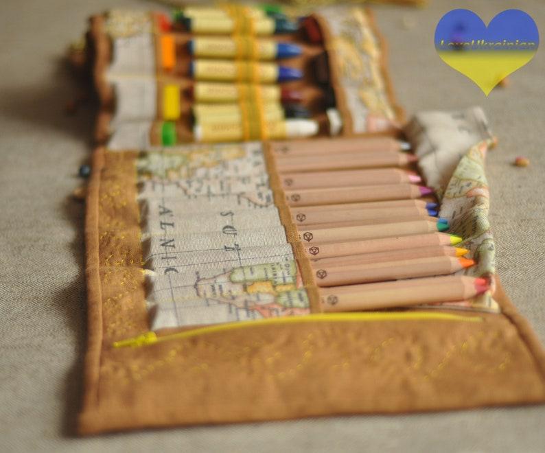 Large Pencil Case Waldorf School Fabric Pencil Case Artist image 0