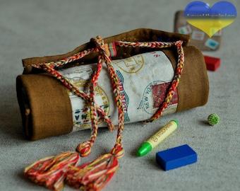Crayon Roll up, Crayon Keeper, Crayon Tote, Crayon Case, Crayon Gift, Waldorf Crayon Roll, Stockmar Crayon Case, Crayons, Crayon Holder