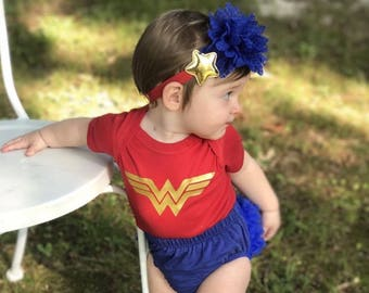 Wonder Woman Baby Outfit-Red Bodysuit ,Baby Girl royal blue Bloomer,Headband & Sandals.wonder Woman halloween costume.Ready to ship.