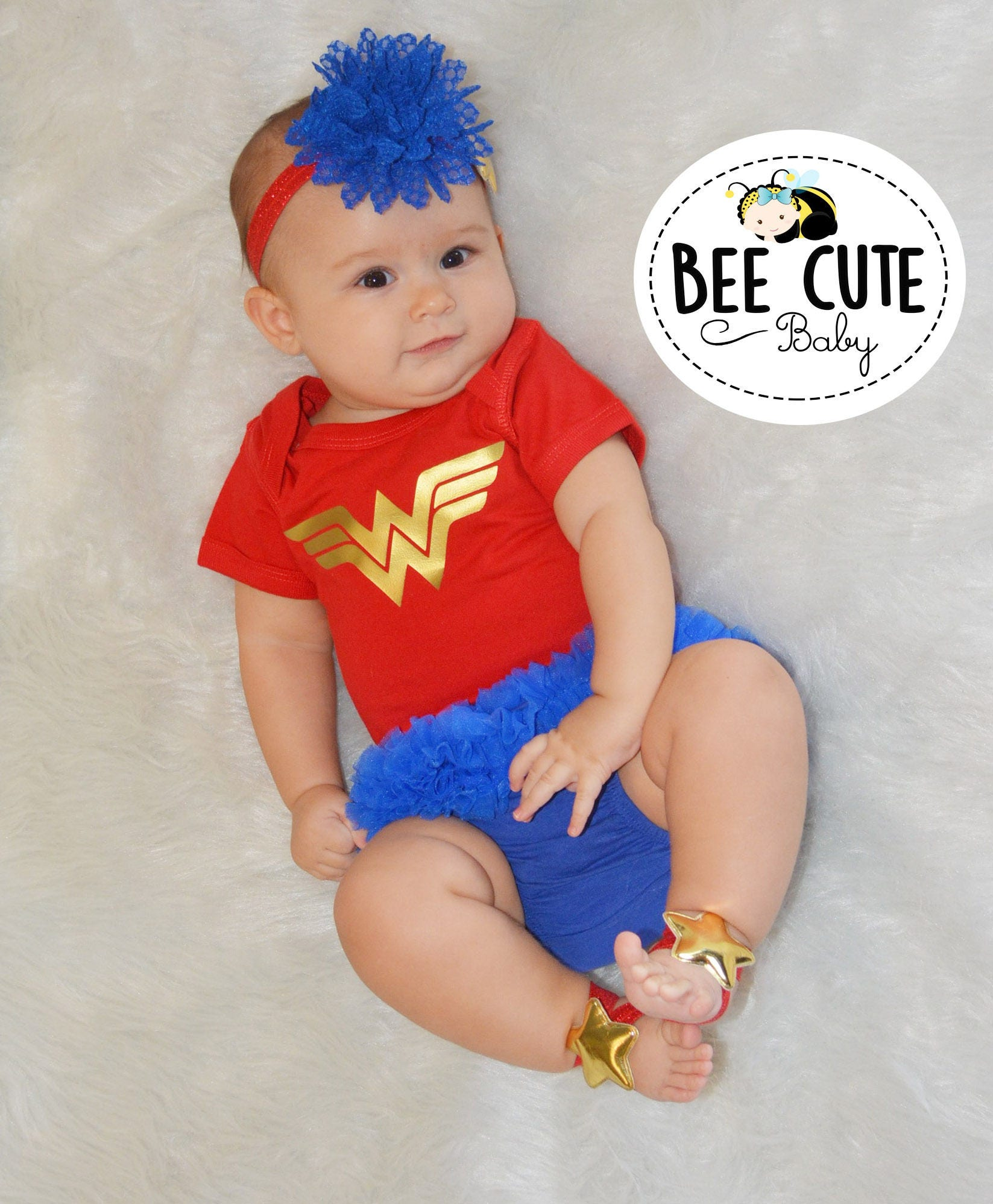 Ready To Ship Wonder Woman Baby Outfit-Red Bodysuit Baby -9375