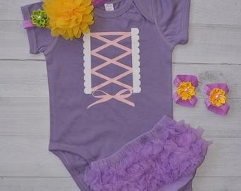 Tangle Costume inspired Rapunzel Disney Princess  Purple Lavender Halloween. baby bloomer ruffles back
