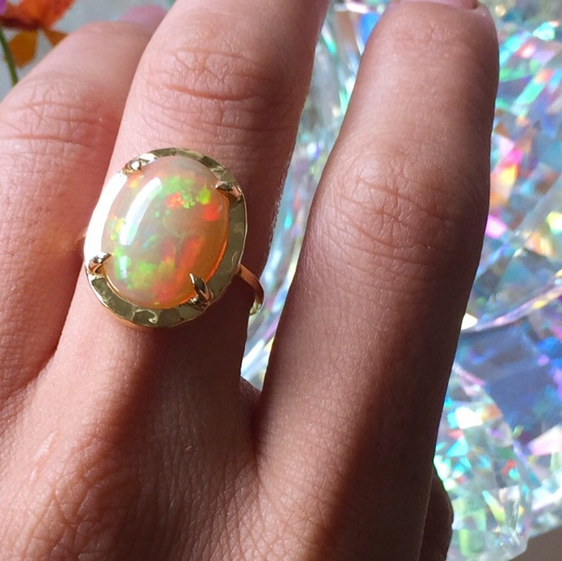 High Quality Opal Ring Size 5.5Opal JewelryOpal Rainbow RingHealing Stones and CrystalsGift for HerHigh Quality OpalAnniversary