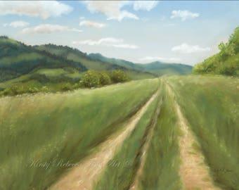 "Original 30cm x 40cm Pastel Painting of Landscape ""Serenity"""