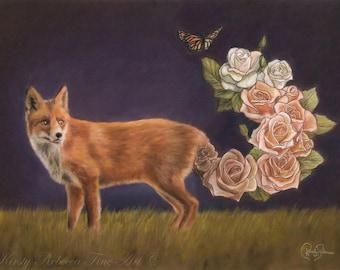 """Original 30cm x 40cm Pastel Painting of Fox """"Allure"""""""