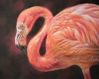 """Original 30cm x 40cm Pastel Painting of Flamingo """"Luminescence"""""""