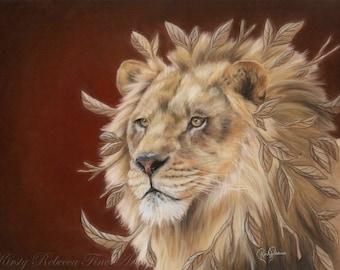 "Original 30cm x 40cm Pastel Painting of Lion ""Majesty"""