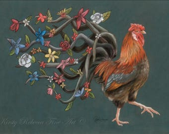 """Original 30cm x 40cm Pastel Painting of Rooster """"Dignified"""""""