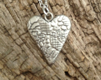 Valentine silver heart pendant, gift for her