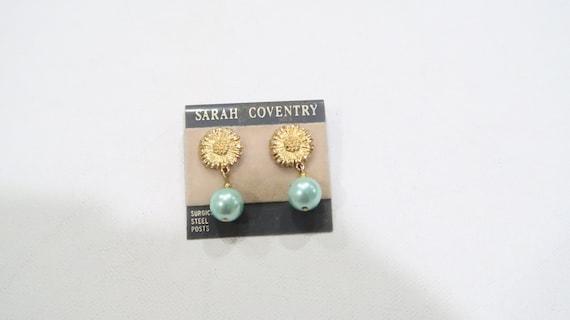 Sarah Coventry Sunflower pearl earrings in origin… - image 2