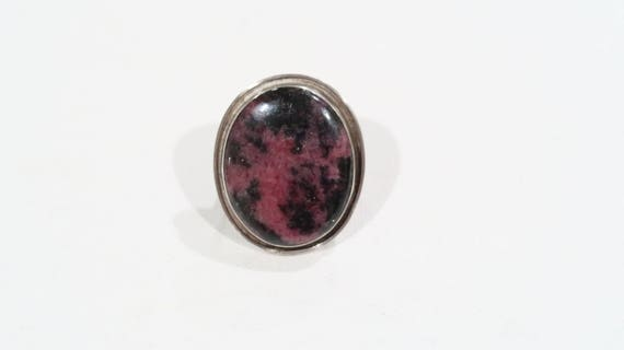 Vintage sterling rhodonite ring