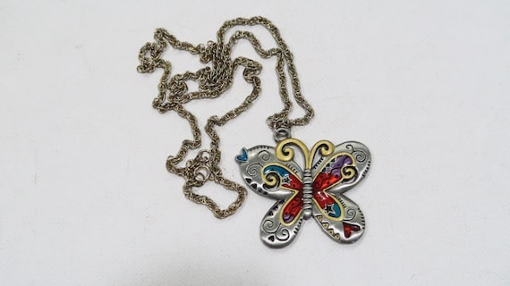 Eye Catcher Art Deco Flowers and Butterfly New Colorful Enamel MADE IN FRANCE French 1970s Vintage Earrings /& Pendant Set