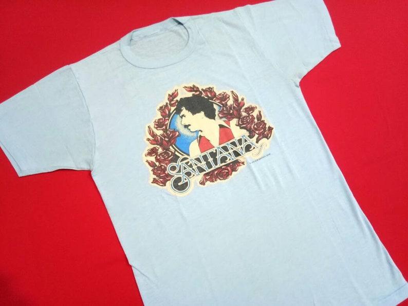 vintage Santana singer music concert 80s small mens t shirt