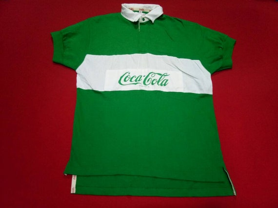vintage coca cola rugby 90s mens polo shirt