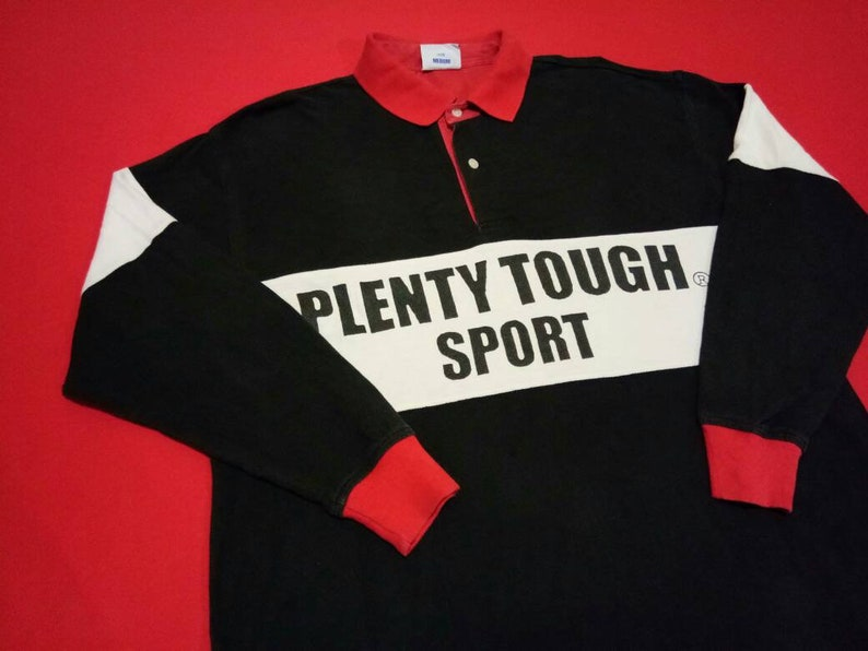 vintage Plenty tough rugby multicolour polo medium mens shirt