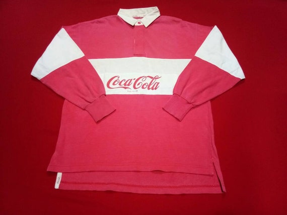 vintage coca cola rugby 90s large mens polo shirt