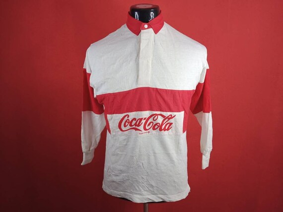 vintage coca cola polo rugby small mens shirt