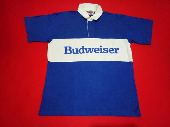 vintage Budweiser rugby polo large mens shirt