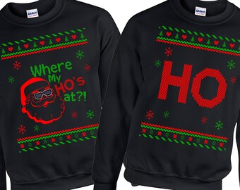 Ugly Christmas Sweater, Hohoho Couples Matching Sweatshirts, Ugly Sweater Party, Ugly Christmas Sweater Party, Ugly Sweater, Couples Shirts