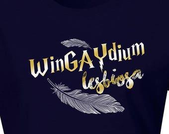 Gay Pride, LGBT, Gay Shirt, Lesbian Shirt, Proud Gay Tshirt, Proud Lesbian Tshirt, Wingaydium Lesbiosa Gay Shirt