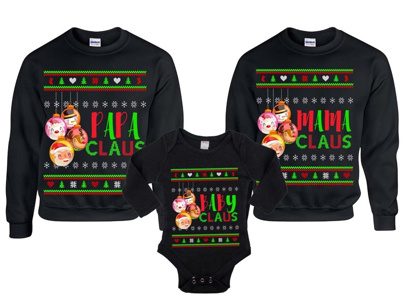 0d0324f88a80 Ugly Christmas Sweater Papa Claus Mam Claus Baby Claus